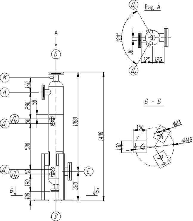 Сепаратор центробежный вихревой , принципиальная схема.