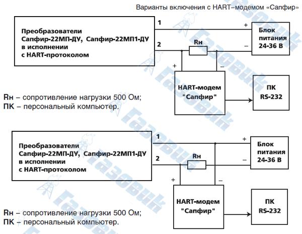 Схемы внешних электрических соединений преобразователей.