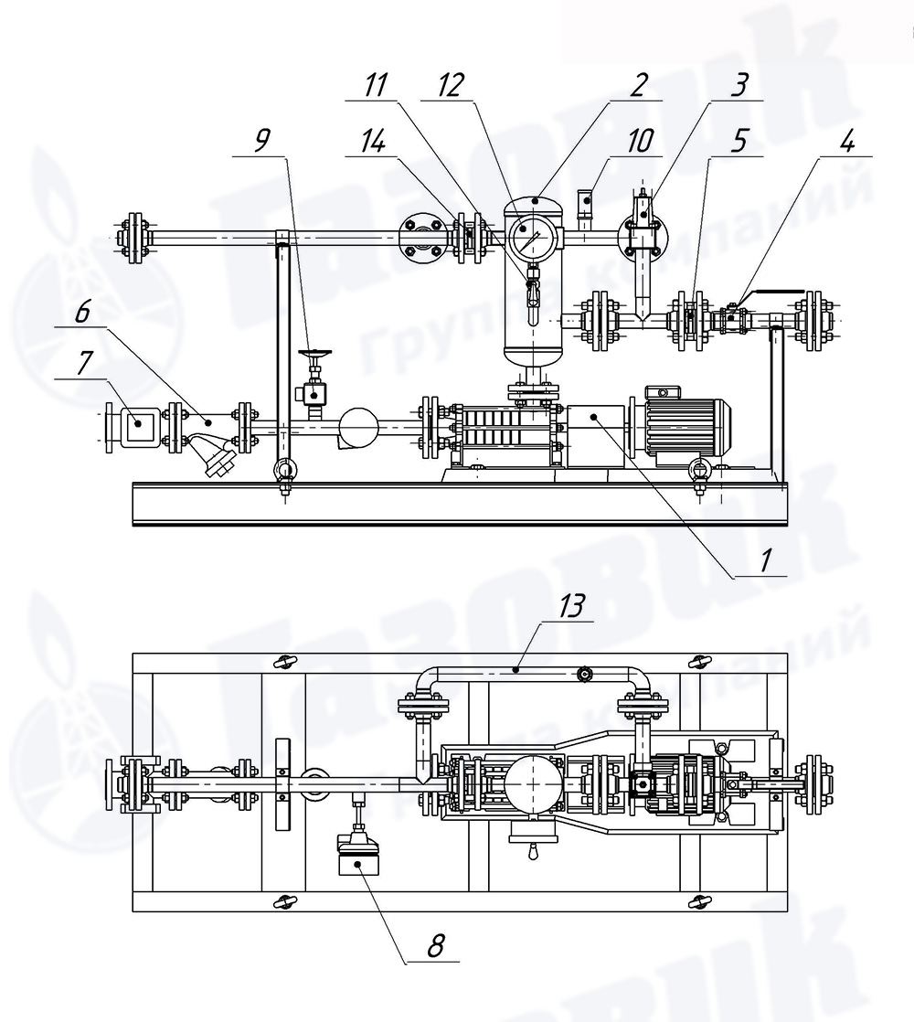 схема насосного агрегата бг-11-2